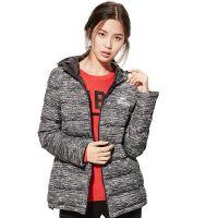 冬季女士修身羽绒服韩版新款女款中长款加厚女装保暖外套 深灰条纹 165/M