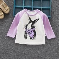 秋款女童插肩袖t恤长袖纯棉宝宝小兔印花圆领打底衫上衣1-2-3-4岁