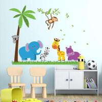 可移除墙贴纸动物乐园儿童房幼儿园装饰可爱卡通温馨卧室宿舍贴画 动物乐园 特大