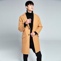 秋冬季男士毛呢大衣中长款外套口袋装饰男装妮子风衣宽松韩版风格 卡其色 M