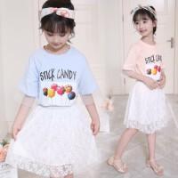 女大童夏季糖果色套装2018夏季新品韩版印花T恤+蕾丝半身裙两件套