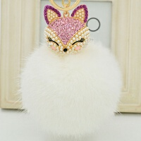 汽车钥匙扣女媚眼兔珍珠水钻大狐狸兔毛毛球钥匙扣毛绒包挂件