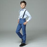 儿童演出服礼服长袖蓝色小花童礼服男男童礼服夏薄新款马甲套装男