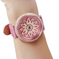 蒂玮娜时来运转时尚潮流大表盘真皮带防水镶钻石英表女表女士手表