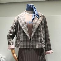韩国ulzzang2018春新款格子外搭外套英伦风小西装双排扣女士西服