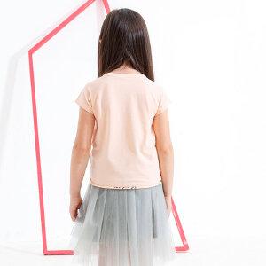 【尾品汇 5折直降】amii童装2017夏女童短袖T恤趣味立体小耳朵字母卷边休闲上衣