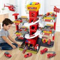 轨道车停车场玩具车小汽车套装各类车消防警察3-4岁儿童6益智男孩