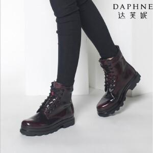 达芙妮靴子低跟防水台交叉绑带马丁靴