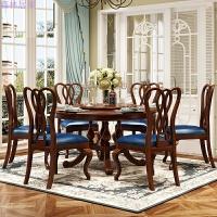 家具美式全实木餐桌复古乡村欧式双层实木圆形餐台组合