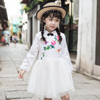女童旗袍儿童连衣裙公主裙礼服新款小女孩中国风碎花裙