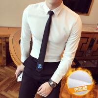 冬季新款白衬衫男士长袖衬衣男式白色保暖加绒加厚韩版寸衫男
