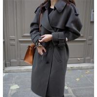 秋冬新款英伦风肩章修身双排扣中长款羊毛呢外套女呢子大衣 深灰色 M