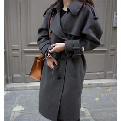 秋冬新款英伦风肩章修身双排扣中长款羊毛呢外套女呢子大衣 深灰色 M 一般在付款后3-90天左右发货,具体发货时间请以与客服协商的时间为准