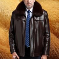 海宁男士真皮皮衣 狐狸毛领男中老年海宁冬装尼克服貂皮大衣男