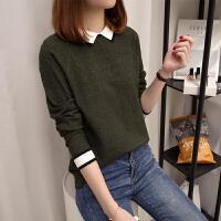 短款毛衣女装韩版秋冬新款打底衫长袖上衣娃娃领针织衫女套头学生