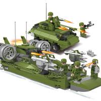 军事男孩组装儿童塑料拼装拼插3-6岁积木玩具