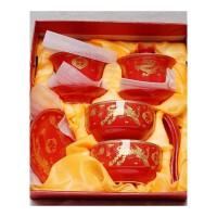 婚庆陶瓷龙凤碗婚庆喜碗喜杯喜筷敬茶杯套装结婚礼物碗筷套装