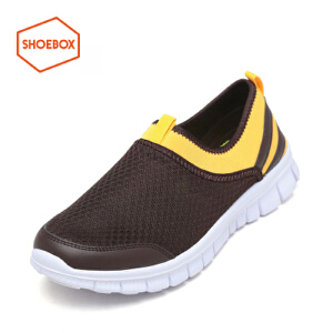 达芙妮旗下shoebox鞋柜时尚拼接网面透气运动休闲鞋圆头套脚鞋