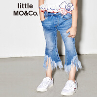 【折后价:128.7】littlemoco夏季新品女童牛仔裤松紧腰微喇叭裤不规则流苏牛仔裤
