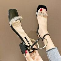 户外水钻透明一字带女士凉鞋时尚百搭女鞋粗跟方头配裙子的鞋