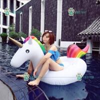 网红独角兽坐骑游泳圈水上充气坐骑儿童浮床浮排玩具游泳漂浮