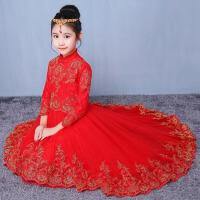 花童蓬蓬裙公主裙女童生日主持演出服 儿童礼服裙秋冬红色蕾丝长袖 红色