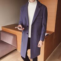 秋冬季男士毛呢大衣韩版中长款风衣潮男后腰带立体多口袋呢子外套