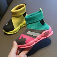 女童鞋子秋季儿童高帮袜子鞋软底透气运动鞋网鞋