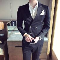 质感面料男士修身双排扣西装春季新品韩版青少年时尚西服新郎