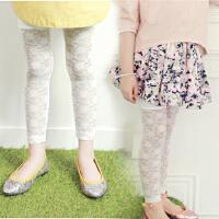 童装新款韩版女童夏季蕾丝九分裤女童打底裤纯棉百搭长裤子