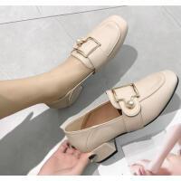 单鞋子女网红女鞋高跟鞋女中跟粗跟温柔风仙女方头奶奶鞋