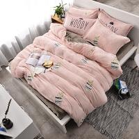 珊瑚绒四件套加厚保暖法兰绒床单双面绒三件套床上用品冬季法莱绒