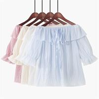 2018夏季新款韩版学院风纯色荷叶边喇叭袖甜美一字肩雪纺衬衫女