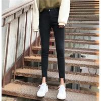 秋冬女装韩版chic撕边缺口裤脚修身显瘦高腰紧身牛仔裤小脚裤学生