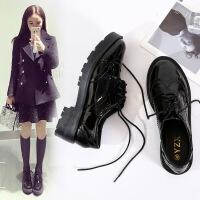 英伦风女鞋子春季2018新款韩版百搭学生布洛克单鞋原宿软妹小皮鞋 黑色