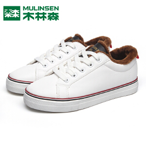 木林森女鞋棉鞋冬季新款保暖加绒低帮系带学生小白鞋女韩版雪地靴