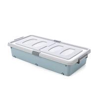 卡式滑轮床底收纳箱塑料大号床下衣服被子整理箱扁平衣物加厚滑轮储物箱 矮款蓝色 79*39*16 一个装(带轮)