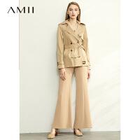 【到手价:266元】Amii极简直筒翻领风衣女2020春季新款绣花腰带帅气复古小个子外套