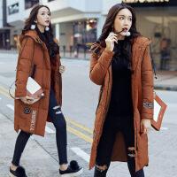 中长款棉衣女冬季新品韩版百搭时尚连帽加厚外套修身棉袄