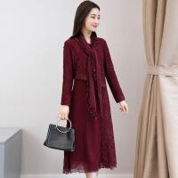 2017新款冬时尚中长款全身加绒蕾丝连衣裙女长袖酒红打底裙配围巾