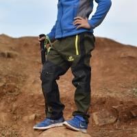 新款儿童软壳抓绒冲锋裤 拼色保暖款 户外登山防风保暖裤