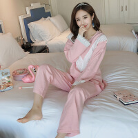 新品秋季女士睡衣长袖纯棉两件套装韩版少女休闲宽松家居服