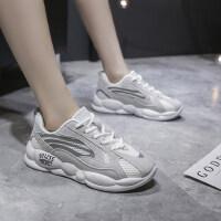 系带休闲运动学生厚底米色跑步鞋潮网面老爹鞋女拼色时尚低帮