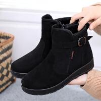 老北京布鞋女棉鞋����冬季�底防滑加�q保暖女鞋雪地靴子平底短靴