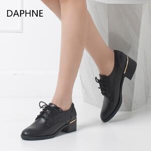 Daphne/达芙妮正品女鞋 秋季时尚中性粗跟系带尖头单鞋
