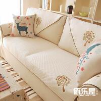 布艺沙发垫棉简约现代欧式坐垫防滑夏季通用沙发套巾愿望树 乳白