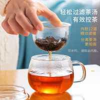 天喜玻璃杯茶杯带把女花茶杯透明家用杯子过滤水杯茶水分离泡茶杯
