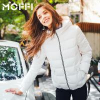 2017冬季新款欧美百搭显瘦潮流保暖白色短款女式连帽羽绒服 白色