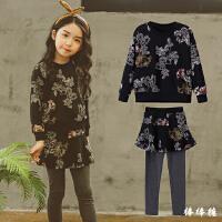 童装女童秋冬套装新款韩版儿童加绒印花卫衣打底裤裙裤套