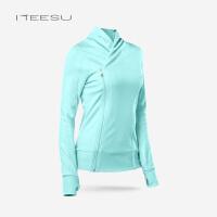 瑜伽服外套女秋冬开衫运动长袖跑步速干上衣高领双层拉链修身